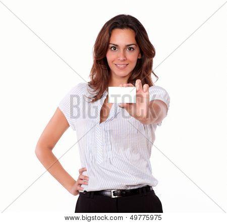 Beautiful Hispanic Woman Holding Blank Card