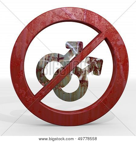 3D Render Of A Rusty Homosexual Sign Not Allowed