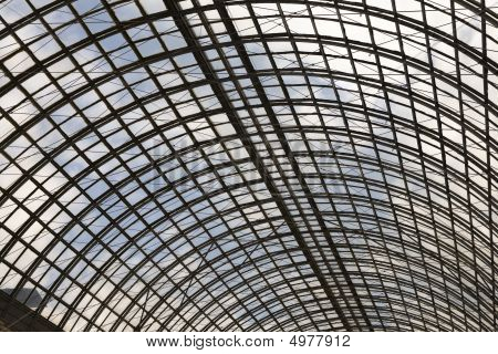 Shopping Mall Glass Dome Ceiling Interior View