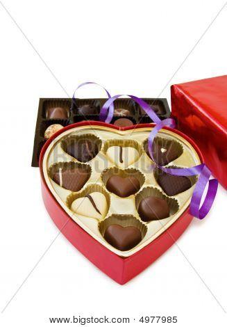 Festive Heart Shaped Box Of Chocolates On White