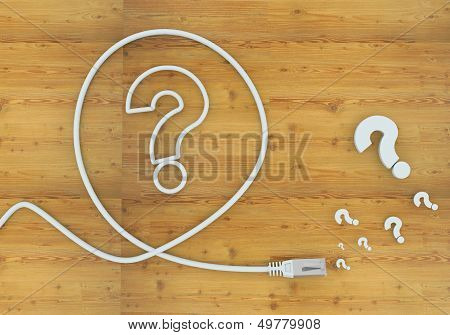 3D Graphic Of A Creative Question Icon Formed By An Cable