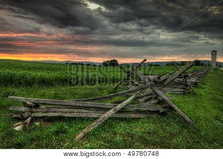 Split-rail Fence And Observation Tower