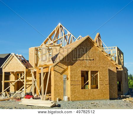 Wood Frame House Under Construction