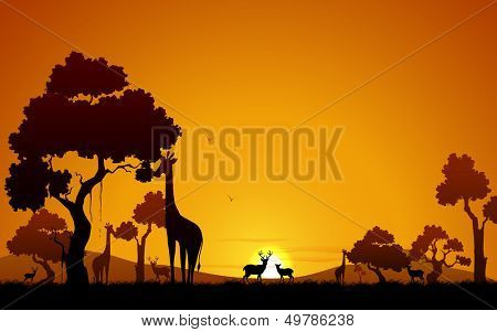 illustration of giraffe and deer in jungle