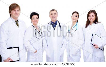 Diversity Team Of Five Happy Successful Doctor