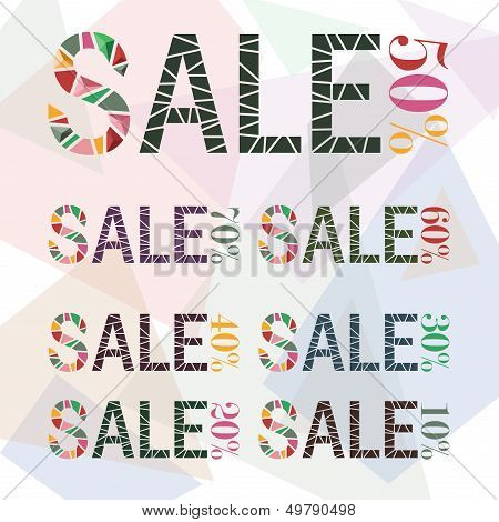Various Sale Discount Made By Fraction Of Colorful Paper 2