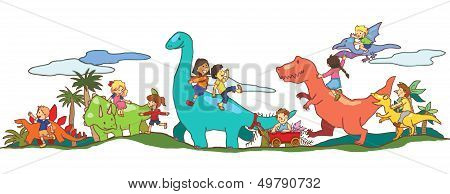 Children play with Dinosaurs in Dinoworld