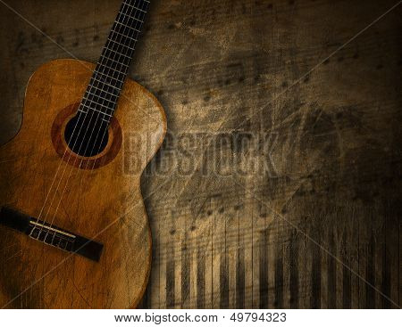 Acoustic Guitar On Grunge Background poster