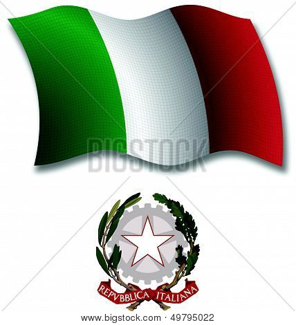 Italy Textured Wavy Flag Vector