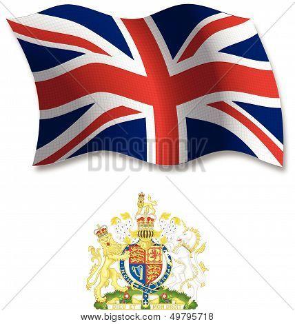 United Kingdom Textured Wavy Flag Vector