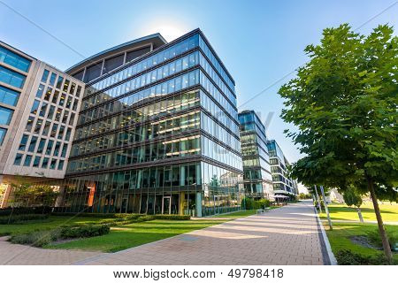 Alley With Modern Office Buildings In Budapest