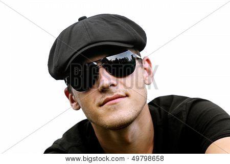 Handsome man in black sunglasses