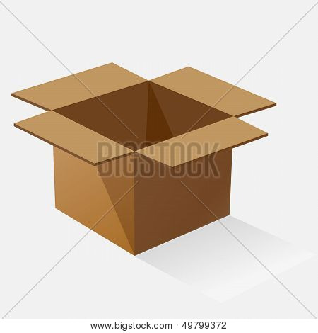 Opened Brown Paper Box With Shadow
