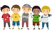 stock photo of stickman  - Stickman Illustration Featuring a Group of Young Male Bullies - JPG