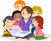 foto of storybook  - Stickman Illustration Featuring Kids Huddled Together While Listening to the Teacher Reading a Storybook - JPG