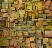 Fragmented Orange,pink And Yellow Square Tile Grunge Pattern Backdrop