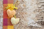 pic of birchwood  - Wooden background made from birch with little hearts - JPG