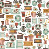 picture of popcorn  - seamless pattern with retro cinema icons - JPG