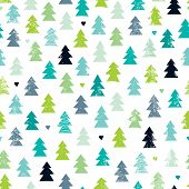 image of scandinavian  - Seamless scandinavian forest christmas tree illustration background pattern in vector - JPG