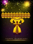 image of ravana  - Indian festival Dussehra concept with Ravana with his ten heads on fireworks night background - JPG