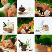 stock photo of thai massage  - Spa theme  photo collage composed of different images - JPG