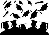 picture of senior prom  - Silhouettes of graduates chatting and the hat toss - JPG