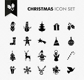 Merry Christmas Black Flat Icons Set.