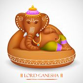 pic of ganpati  - illustration of statue of Lord Ganesha made of rock - JPG