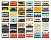 image of magnetic tape  - a vintage retro old audio cassette tape - JPG