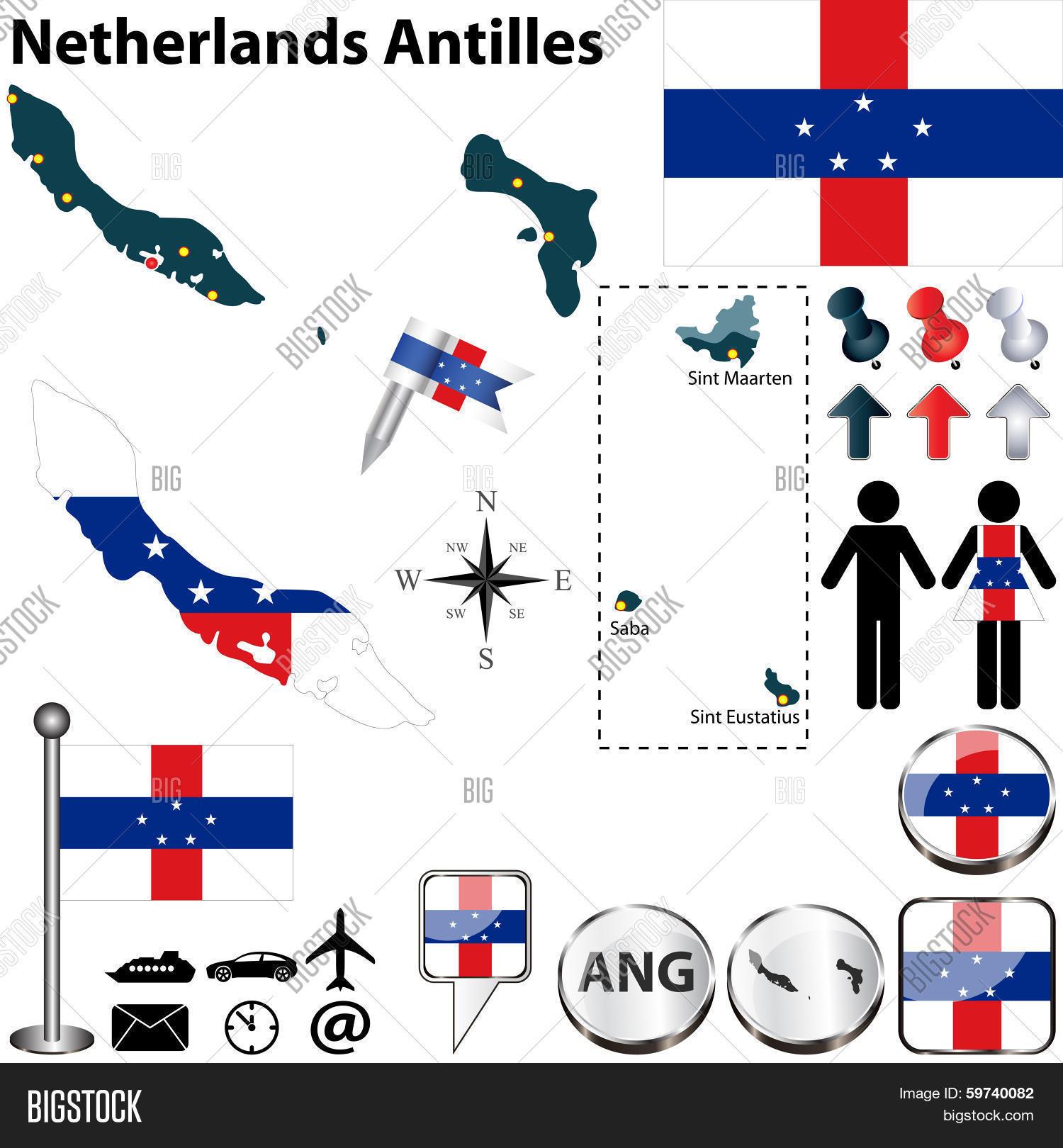Map Netherlands Antilles Vector Photo Bigstock
