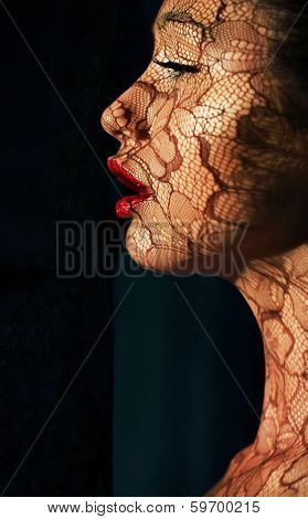 Creative Art Makeup. Portrait Of Asian Woman In Sunlight With Tracery