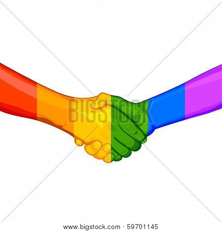 illustration of handshake with painted hand in rainbow flag LGBT color