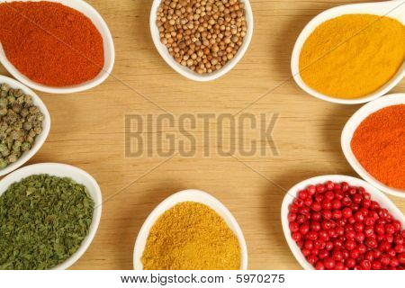Spices In Ceramic Containers