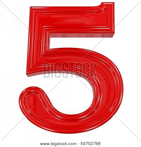 3d shiny red font made of plastic or ceramic - figure number five. Isolated on white.