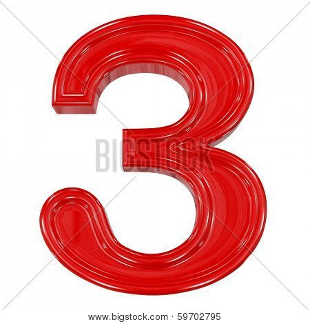 3d shiny red font made of plastic or ceramic - figure number three. Isolated on white.