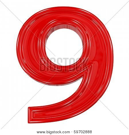 3d shiny red font made of plastic or ceramic - figure number nine. Isolated on white.