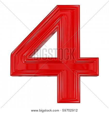 3d shiny red font made of plastic or ceramic - figure number four. Isolated on white.