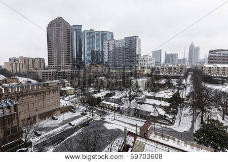 ATLANTA, GEORGIA - February 12, 2014:  Snow and ice cripple midtown Atlanta as the state of Georgia declares a state of emergency.