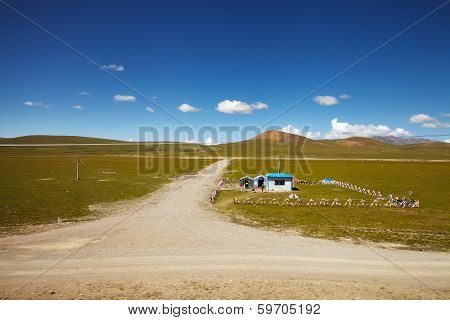 Chinese Army Outpost In Tibet Plateau