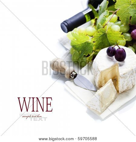 Wine, grape and cheese over white. With easy removable sample text