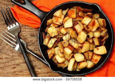 Ranch Potatoes or Home Fries in Cast Iron Serving Skillet