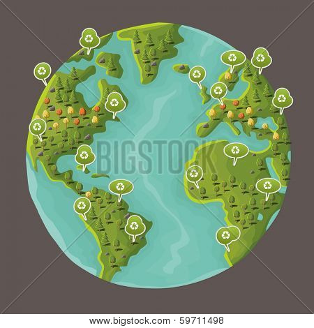 Planet earth with speech balloon with recycle icon. Green world.