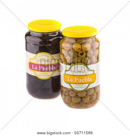 KRAKOW, POLAND - FEB 8, 2014: Studio shot of green and black olives 935 gr La Puebla. Company B&T Distribution Sp. z o.o. is the official distributor of La Puebla in Poland since 1999.
