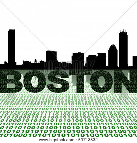 Boston skyline with binary foreground vector illustration