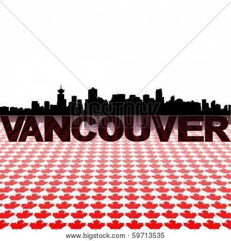 Vancouver skyline with maple leaves foreground vector illustration