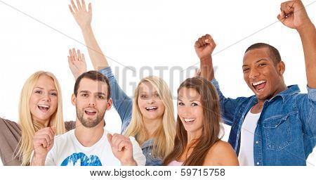 Cheering group of young people. All on white background.