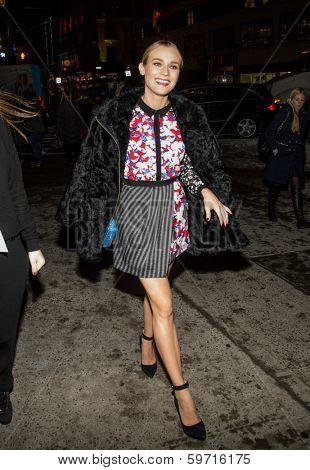NEW YORK-FEB 6: Actress Diane Kruger arrives at a private shopping event in celebration of Peter Pilotto for Target at Gotham Hall near Herald Square on February 6, 2014 in New York City.