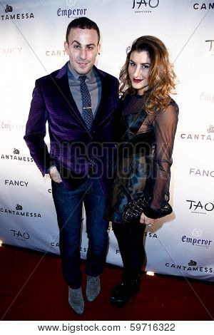 NEW YORK-FEB 10: Blogger Micah Jesse (L) and Nicole Volynets attend the Cantamessa Men Launch Party at Tao Downtown Lounge on February 10, 2014 in New York City.