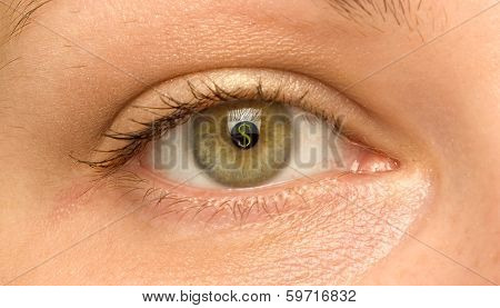 woman eye with the symbol of Dollar