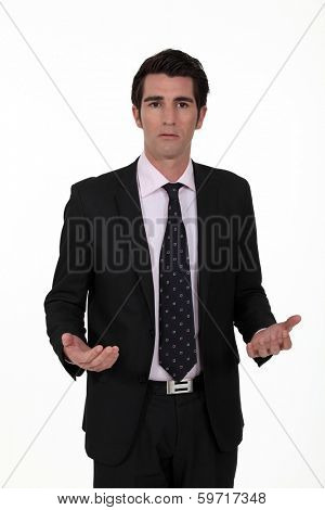 Businessman looking confused